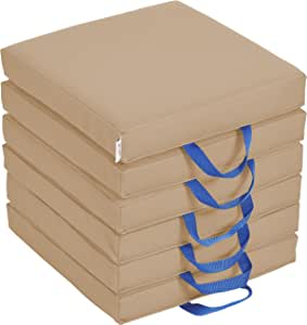 """ECR4Kids SoftZone Floor Cushions with Handles, 2"""" Deluxe Foam, Square, Sand, (6-Pack)"""