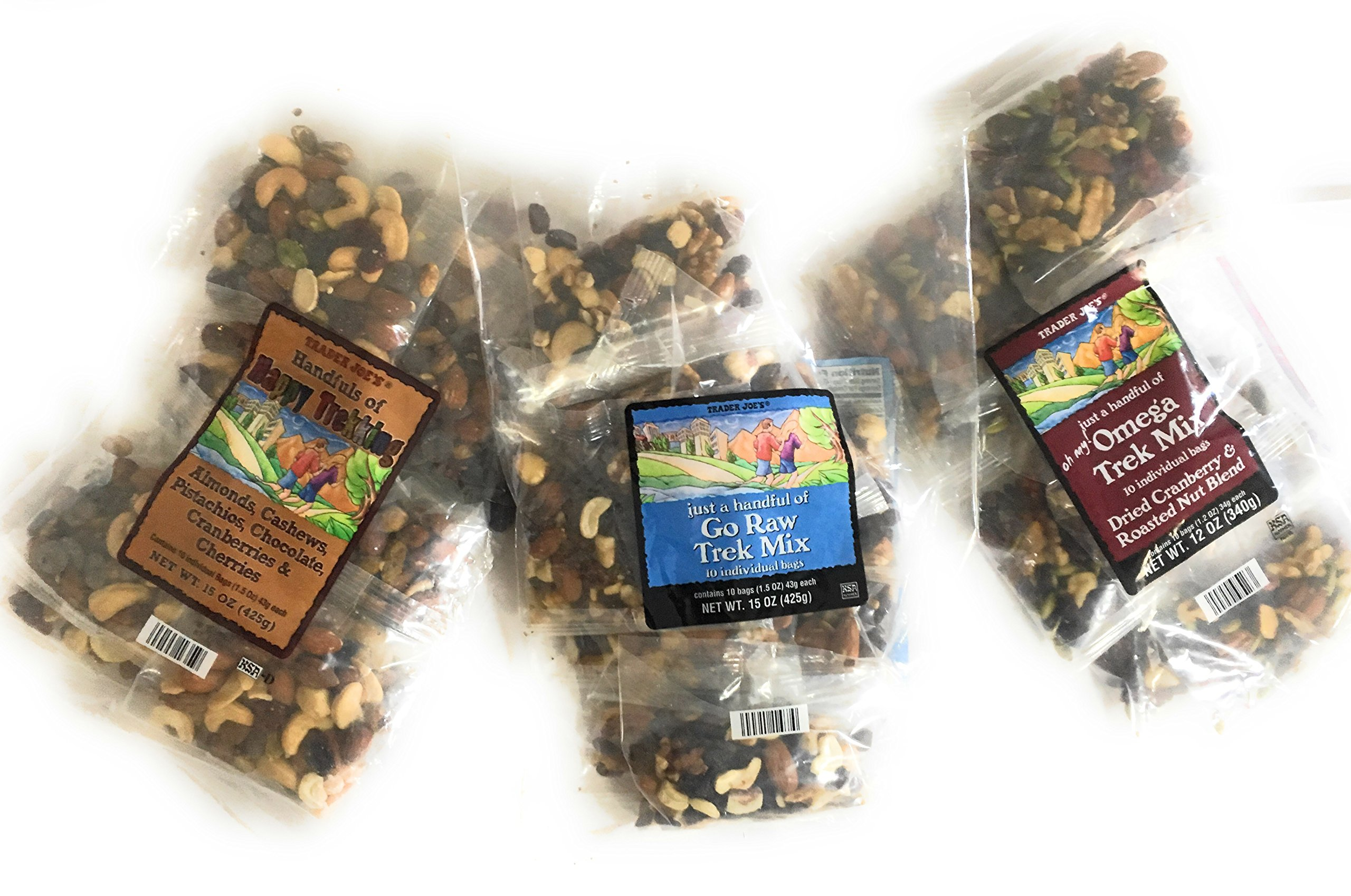 Trader Joes Trail Mix Snack Bundle - 1 Omega Trek, 1 Happy Trekking, and 1 Go Raw Pack - Each with Individual Mini Packets of Mixed Nuts - A Healthy Assortment for Adults and Kids by TJ's (Image #1)