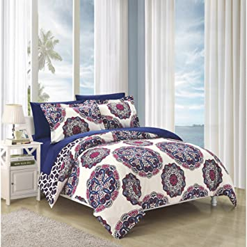 Delicieux 2 Piece Navy Blue Red Medallion Floral Pattern Duvet Cover Twin Set,  Beautiful Large Scale