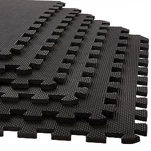 Foam Mat Floor Tiles, Interlocking EVA Foam Padding by Stalwart – Soft Flooring for Exercising, Yoga, Camping, Playroom – 6 Pack, .375 inches thick