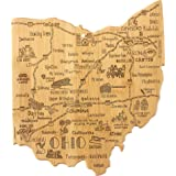 Totally Bamboo Destination Ohio State Shaped Serving and Cutting Board, Includes Hang Tie for Wall Display