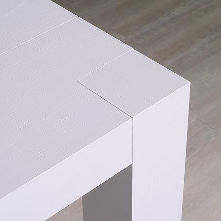 Table Console Extensible Modele Venere Finition Blanc Frassinato Cm 46 306 X 90 H 75 En Panneaux Melaminico De Qualite Avec 5 Allunghe De Cm 52