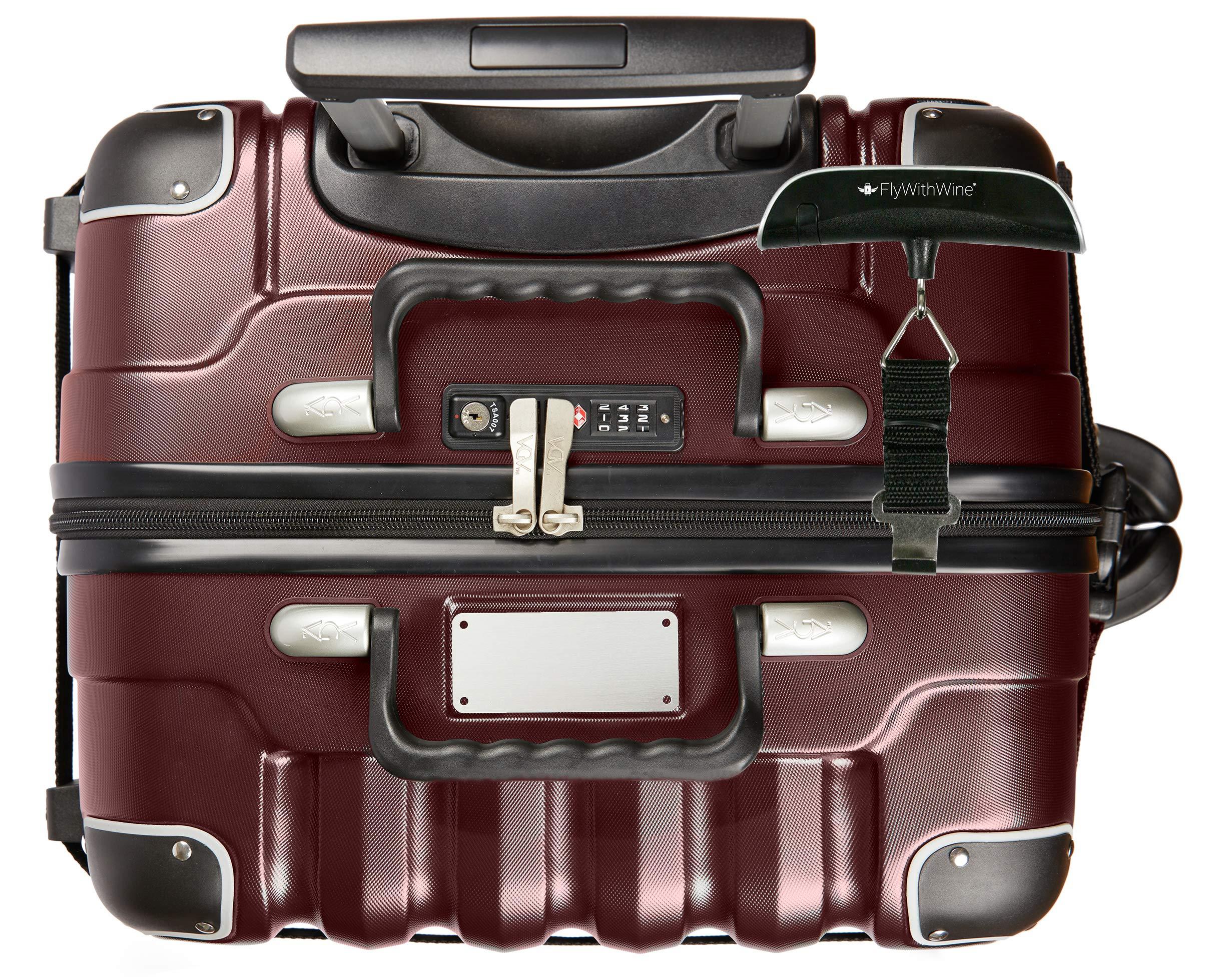 Bundle - 2 items: VinGardeValise 12 Bottle Wine Travel Suitcase with Personalizable nameplate, FlyWithWine Digital Luggage Scale - Burgundy by VinGardeValise
