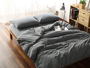 F.Y.Dreams 100% Washed Cotton Cooling Duvet Cover for Weighted Blanket 60x80 inches with 8 Ties, Zipper on Long Side/Grey/Just Duvet Cover
