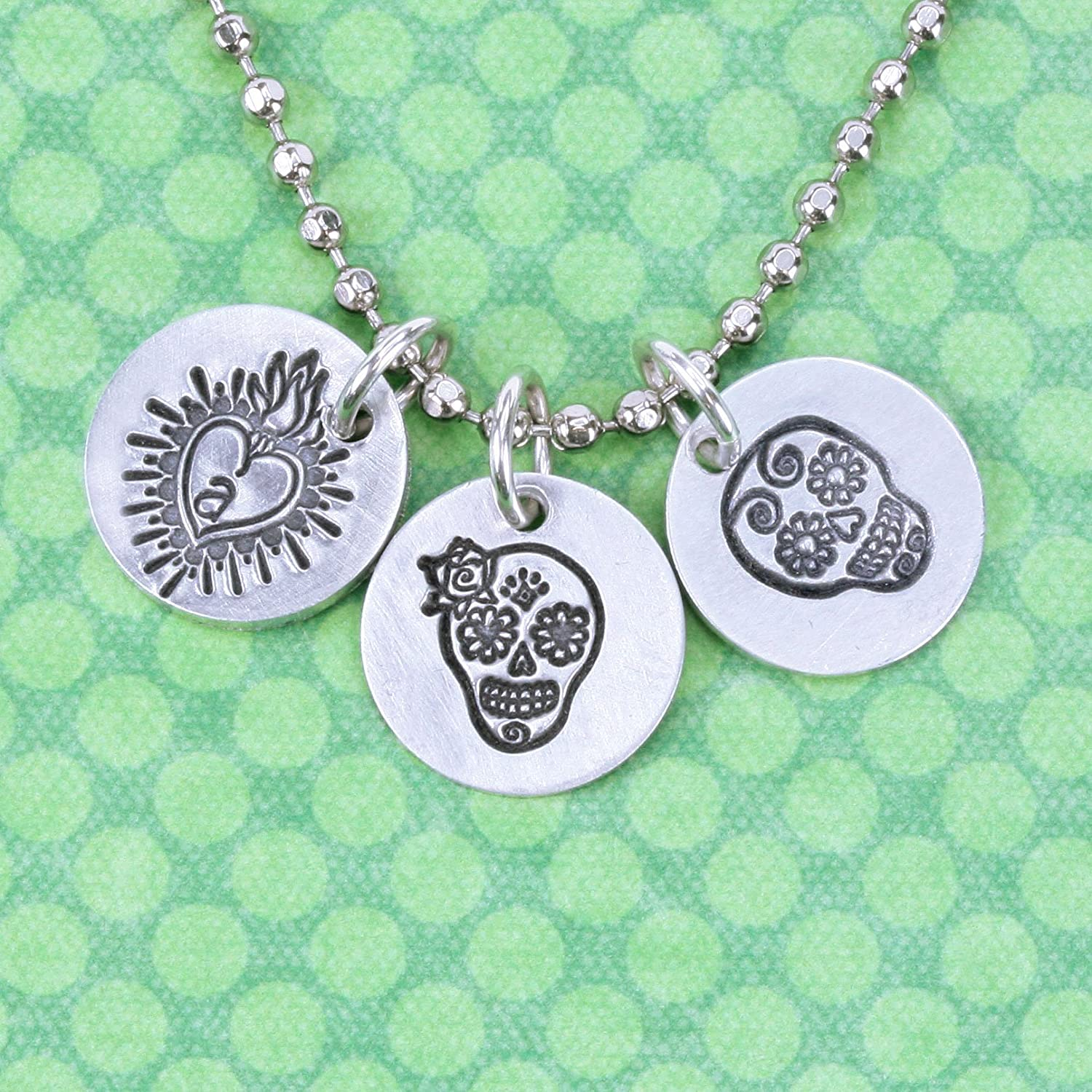 Sacred Heart Metal Design Stamp Beaducation Original Metal Design Stamps 11.5mm Flaming Fire Love Punch Stamping Tool for Hand Stamped DIY Jewelry Crafts