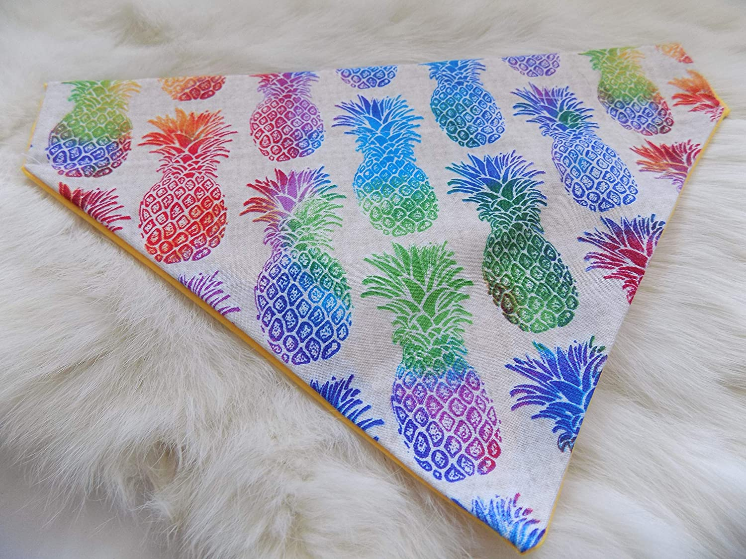 Pineapple Over the Collar Dog Bandana Medium