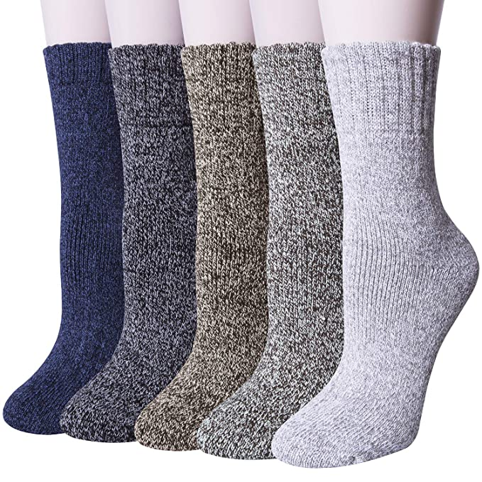 ebf559429a8b4 Loritta 5 Pairs Womens Wool Socks Winter Warm Soft Knit Vintage Casual Crew  Socks