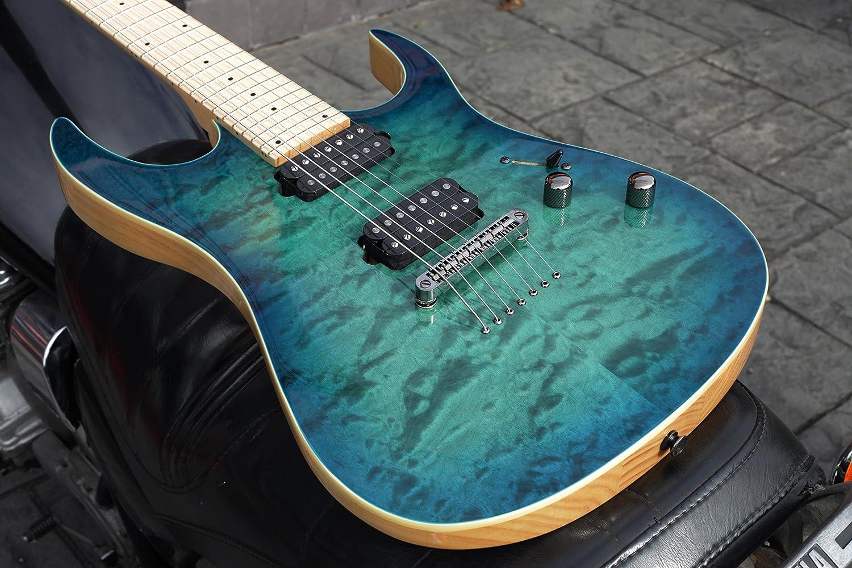 Lindo LDG- Guitarra eléctrica con mástil arce de 7 cuerdas - ráfaga de color turquesa.: Amazon.es: Instrumentos musicales