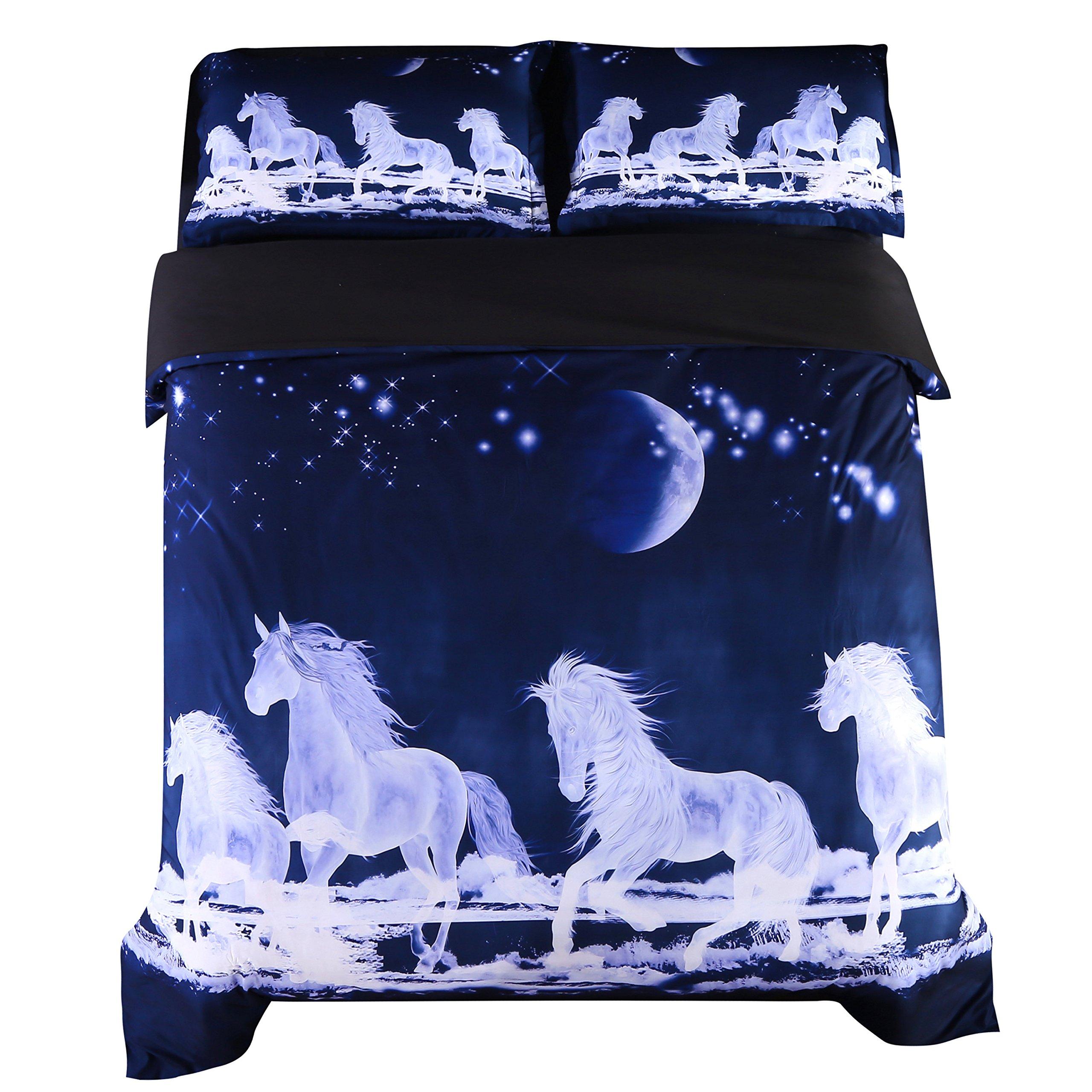 Beddinginn White Horse Bedding 3d Blue Horse Running Duvet Cover Set Moon Print Bed Cover Set No Comforter(Full)