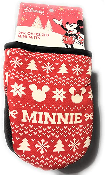 Disney Minnie Mouse Christmas 2 Kitchen Oven Mitts New