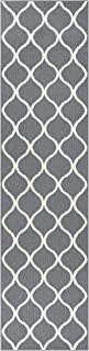 product image for Maples Rugs Rebecca Contemporary Runner Rug Non Slip Hallway Entry Carpet [Made in USA], 2'6 x 10, Grey/White