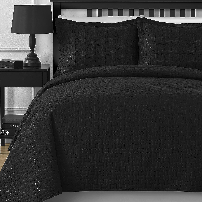 3-Piece Oversize Bedspread Coverlet Set (King/Cali King, Black