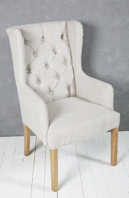 6x Polsterstuhl hellgrau mit Holzbeinen Esszimmerstuhl Ohrensessel Esszimmersessel Loungesessel Stuhl Sessel Modern