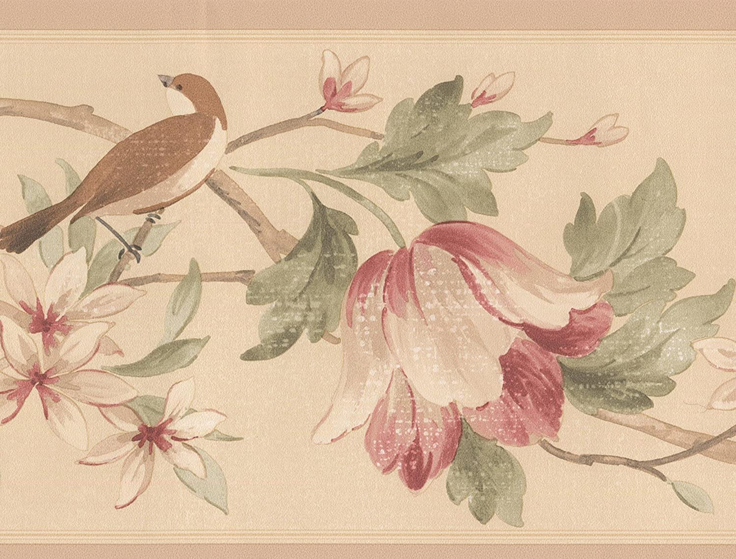 Red White Flowers Birds On Branches Beige Floral Wallpaper Border