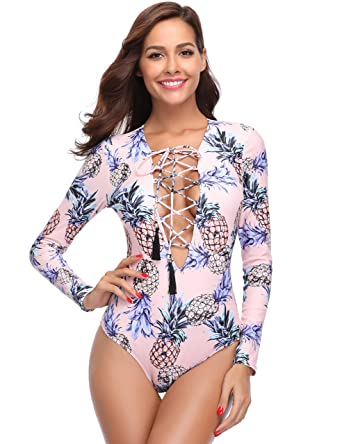 254ee6cd8be MarinaVida Women One Piece Long Sleeve Swimsuit Deep V Neck Bathing Suit