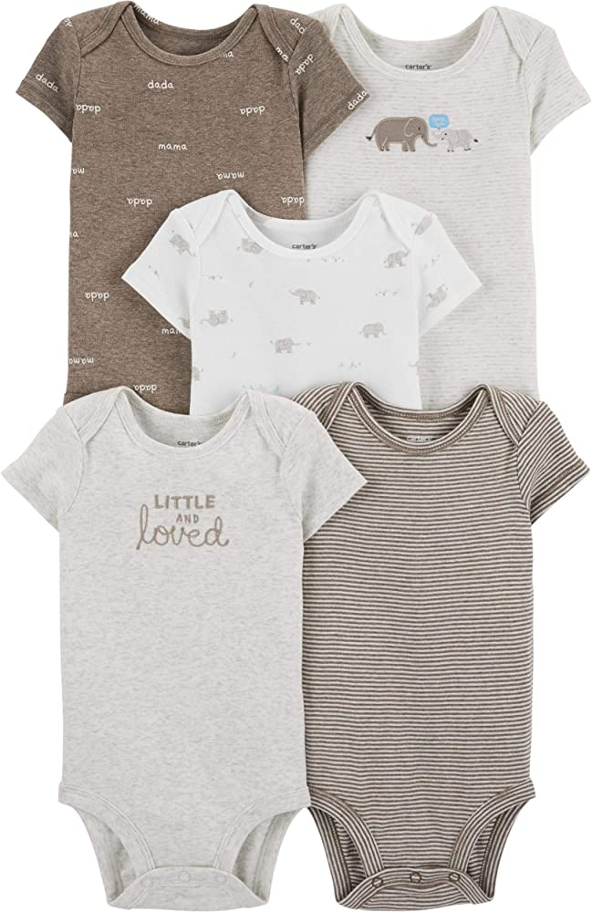 Carters Baby White 5-Pack Short Sleeve Bodysuits 3 Months
