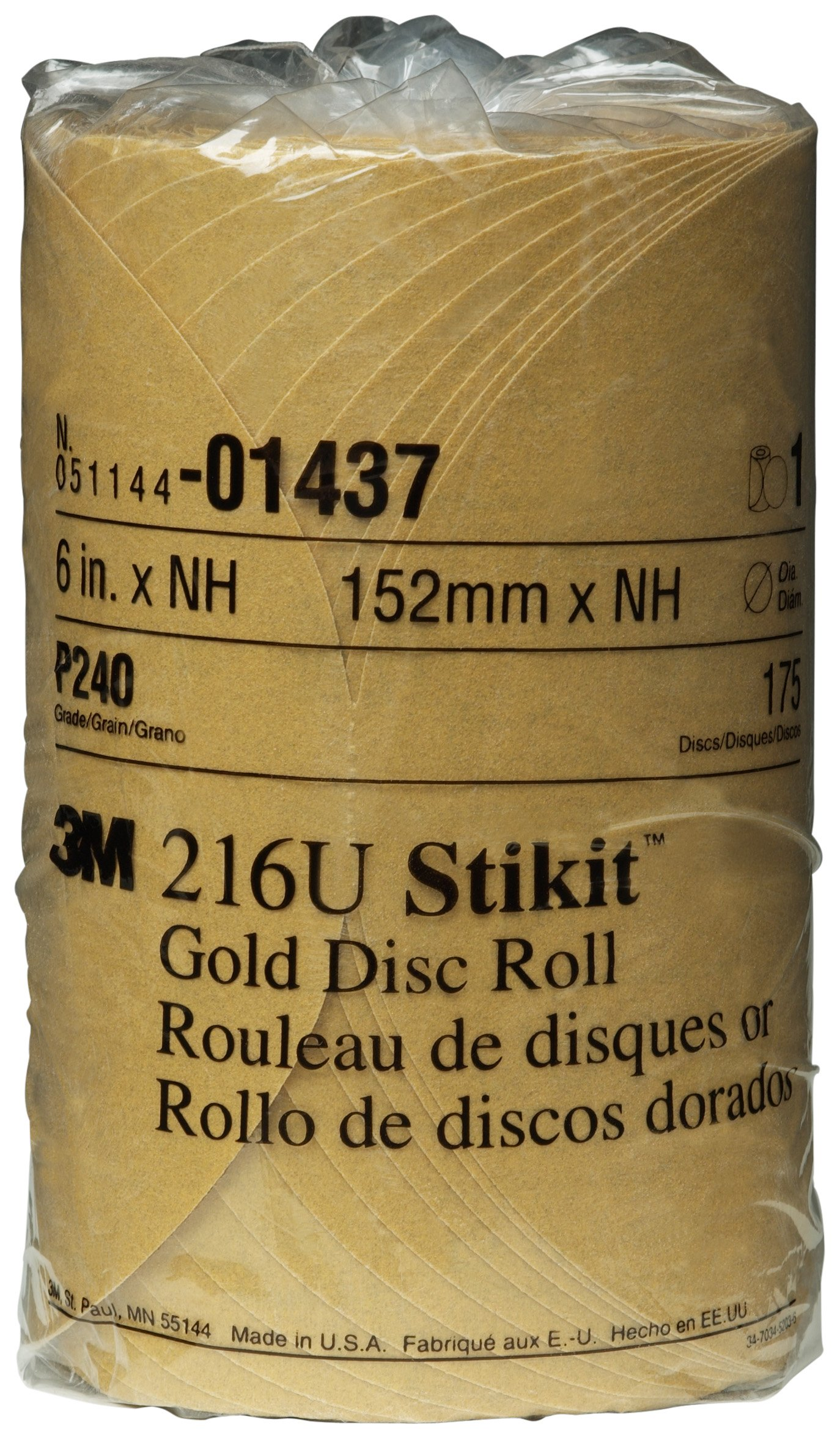 3M 01437 Stikit Gold 6'' P240A Grit Disc Roll (Pack of 6)