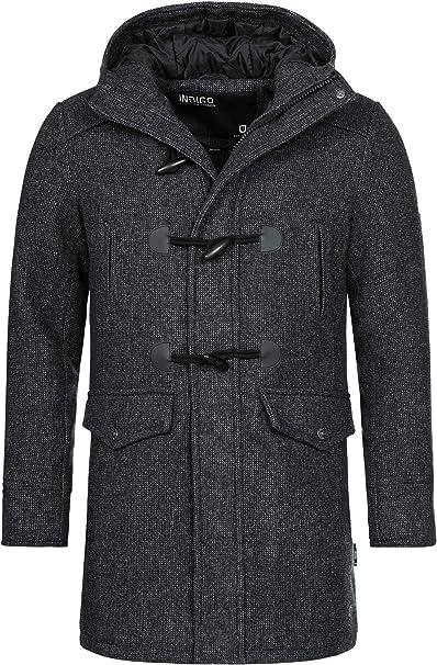Indicode Herren Liam Dufflecoat mit Stehkragen und Kapuze | moderner Wollmantel mit 5 Taschen Warmer Wintermantel gefütterter Herrenmantel Winter