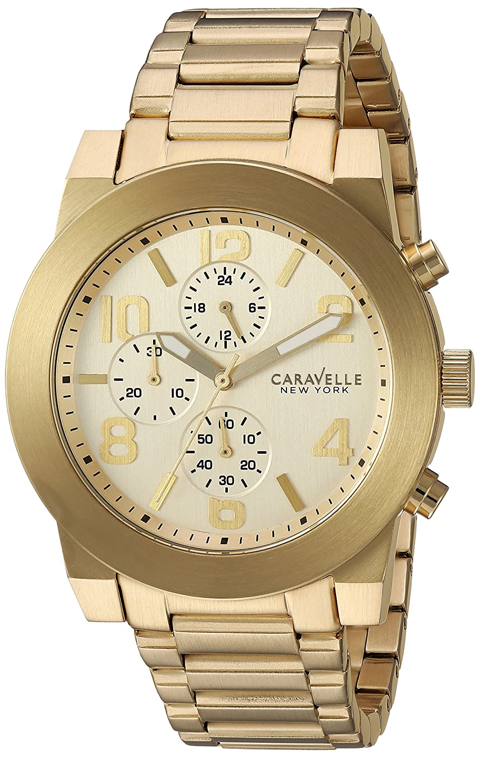 Amazon.com: Caravelle New York Mens Quartz Stainless Steel Watch, Color:Gold-Toned (Model: 44A105): Watches