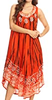 Sakkas Alexis Embroidered Long Sleeveless Floral Caftan Dress/Cover Up