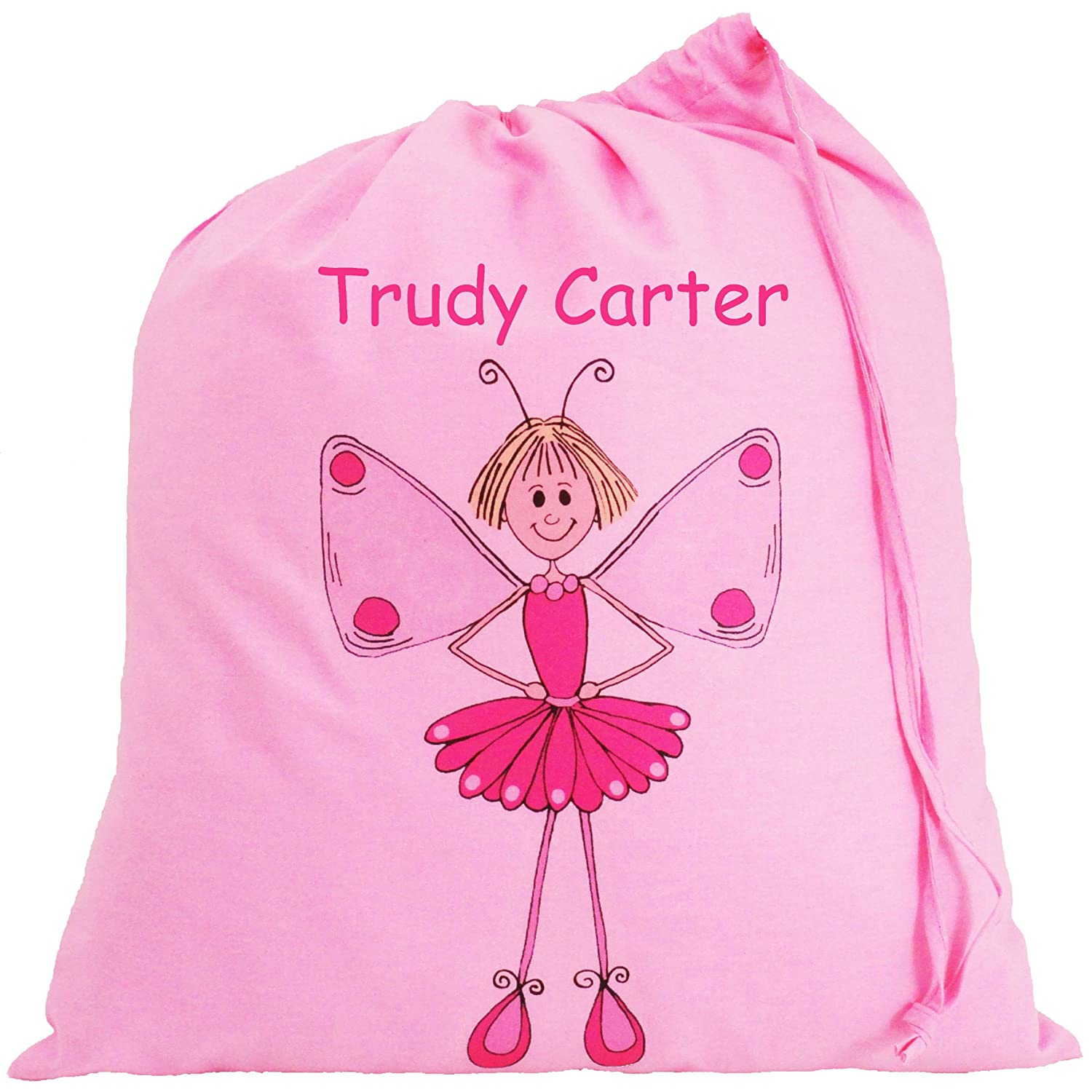 Personalised - Pink Fairy Bag - Small Cotton Drawstring Bag ...
