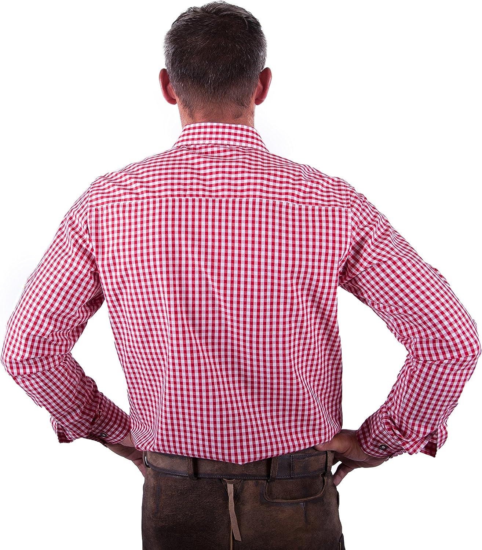 Bordeaux Almwerk Herren Trachten Hemd Kariert Modell Ottmar 100/% Baumwolle in Rot Schwarz Hellblau und Braun Hellgr/ün Dunkelblau Tanne