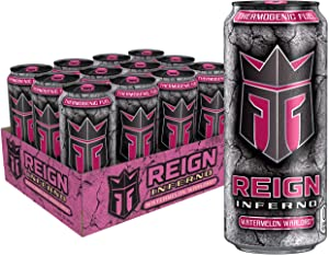 Reign Inferno Watermelon Warlord, Thermogenic Fuel, Fitness and Performance Drink, 16 Ounce (Pack of 12)