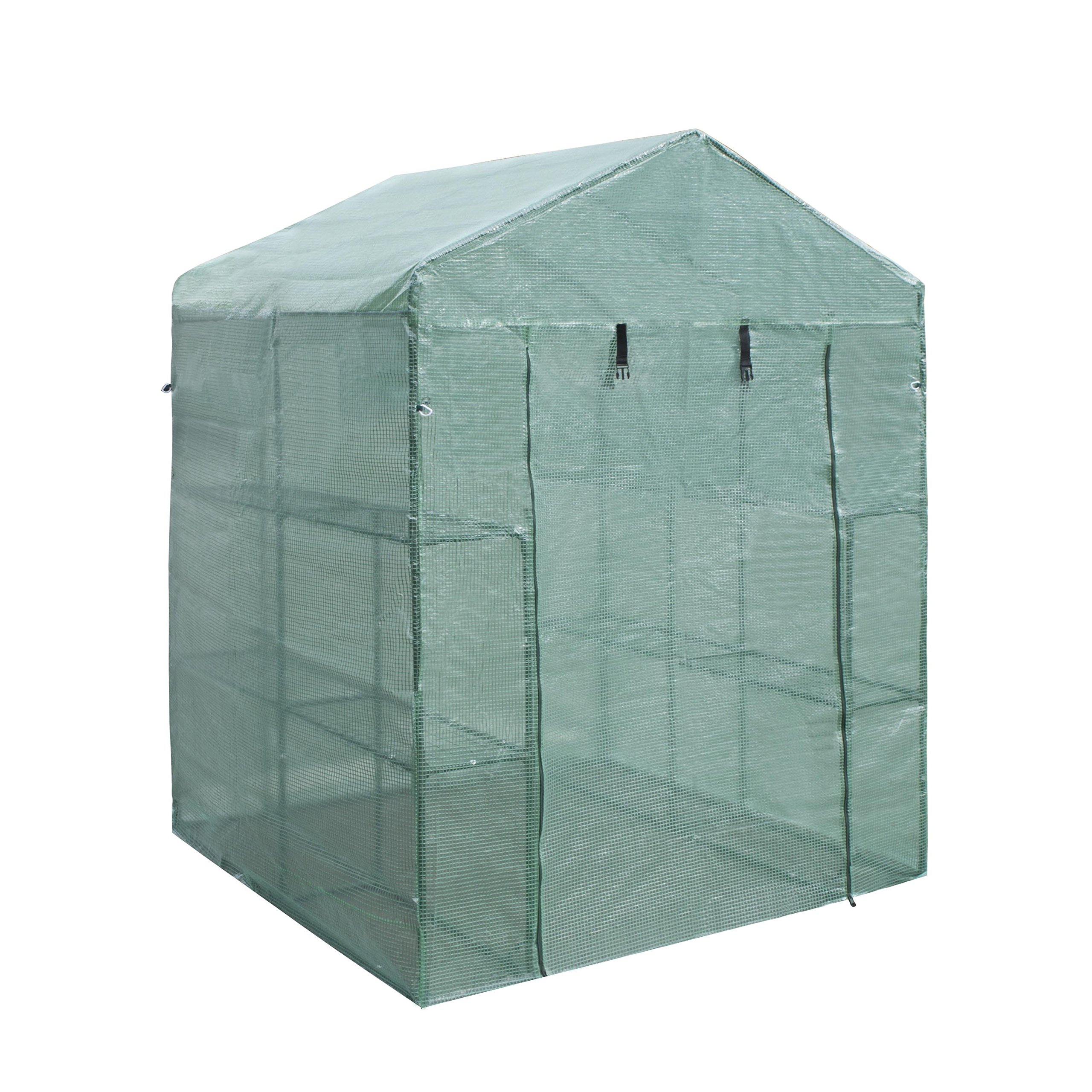 ALEKO GH57X57X77 Portable Walk In 4 Shelves Waterproof Garden Plant Outdoor Greenhouse Shed 56X56X76 Inches
