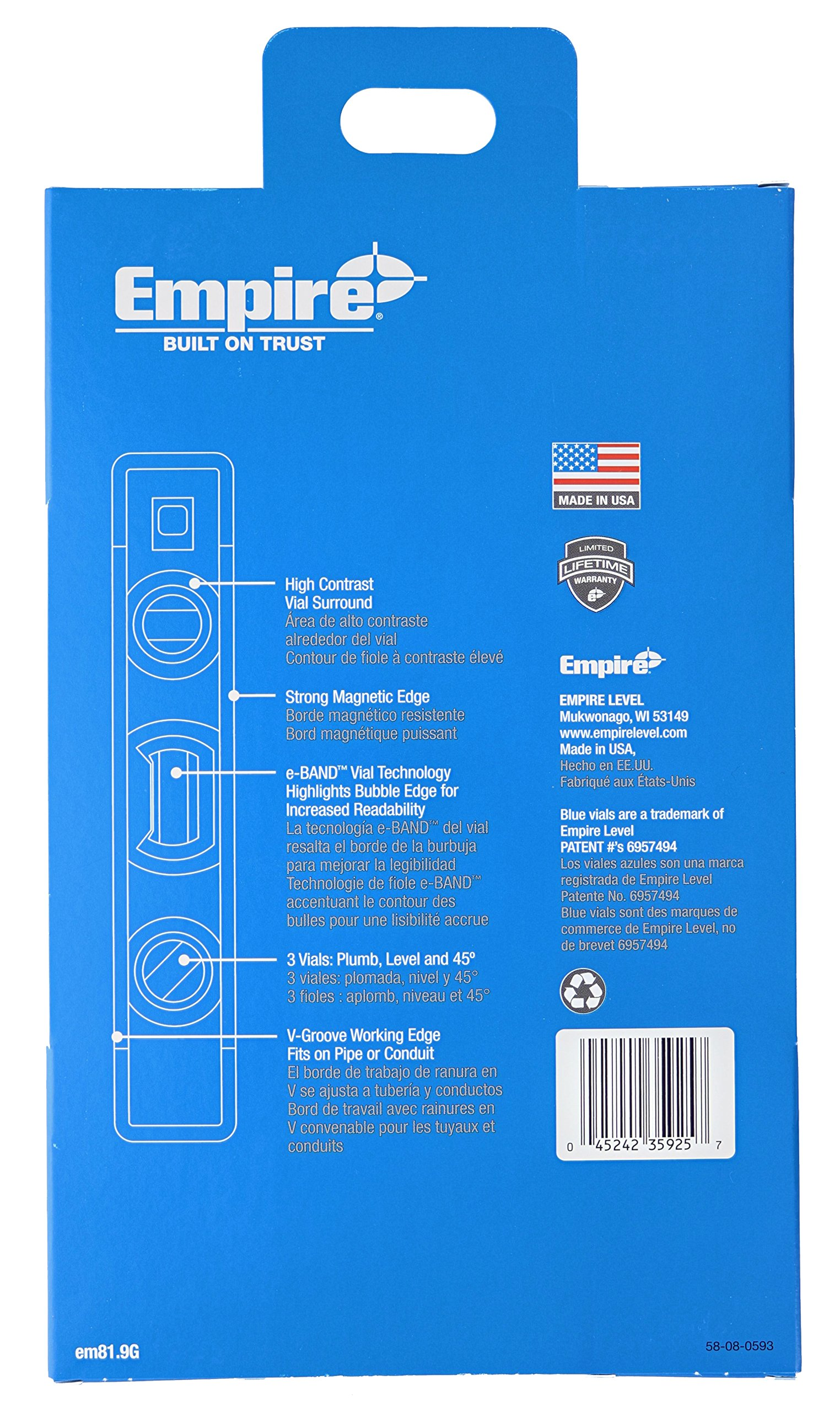 Empire EM81.9 True Blue 9-Inch Heavy-duty Magnetic Aluminum Torpedo Level (Twin Pack) by EMPIRE (Image #8)