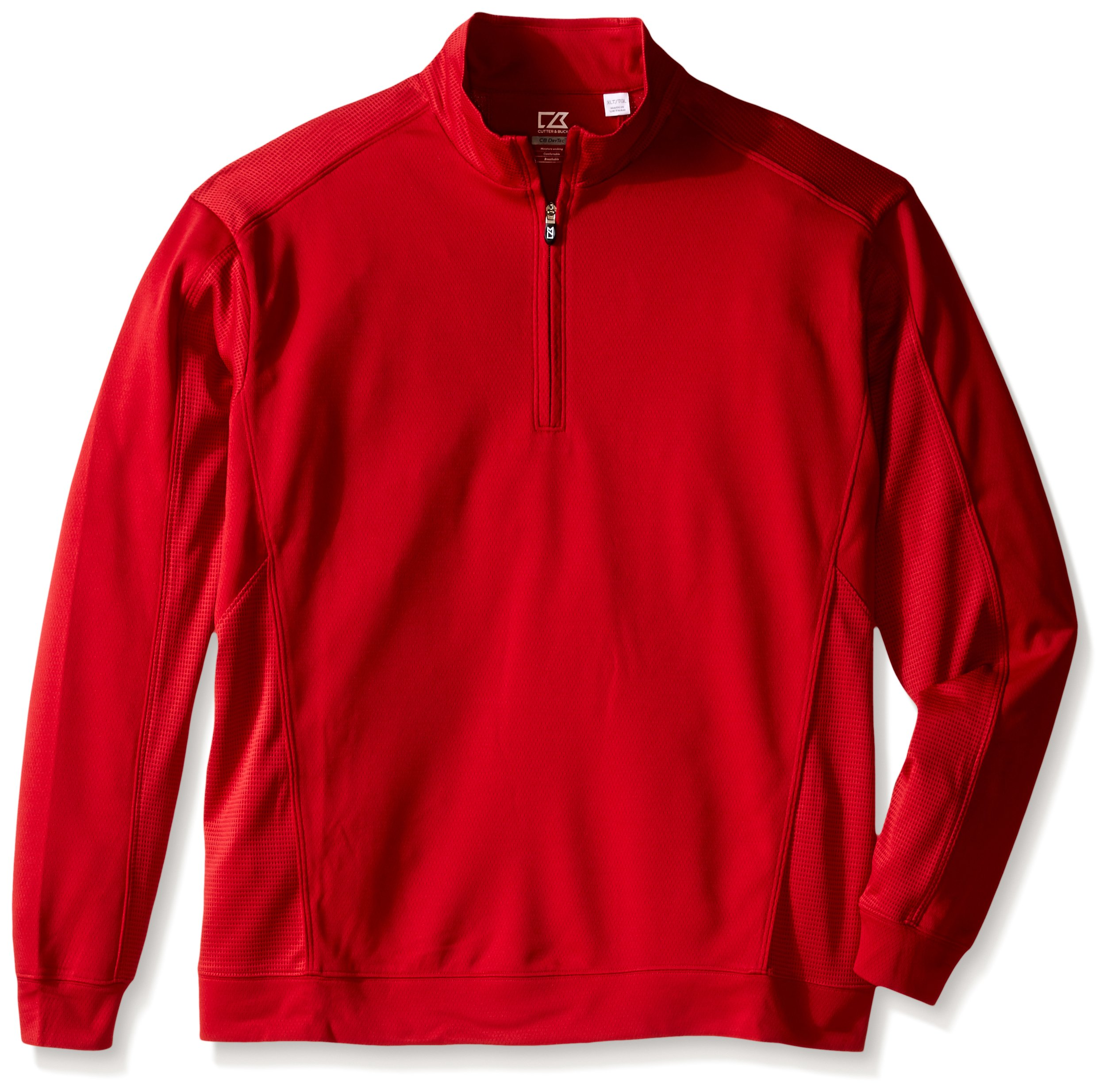 Cutter & Buck Men's Big-Tall Drytec Edge Half Zip, Cardinal Red X-Large