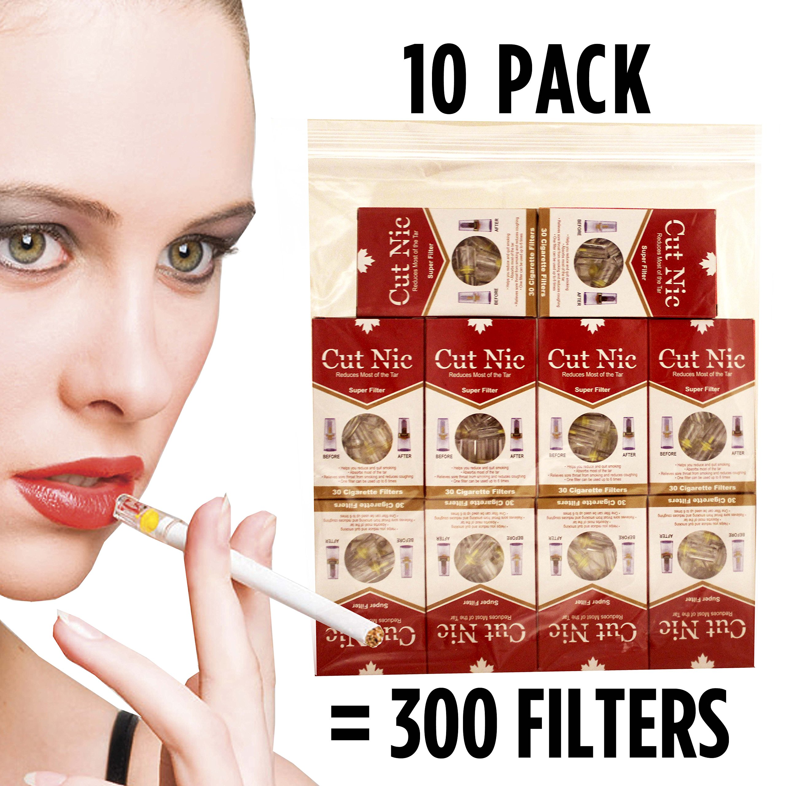 Cut-Nic 4 HOLE Cigarette Filters 10 Packs For Cigarette Smokers (300 Filters Total)