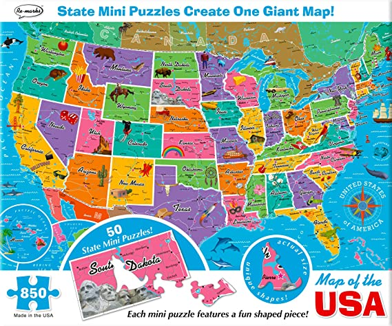 Amazoncom Remarks Map of the USA 850 Piece Puzzle with Mini