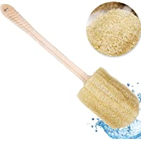 Coimoon I Organic Loofah Bath Body Brush with Long Handle Gentle Exfoliation, Brushing Back Scrubber for Shower, Natural…