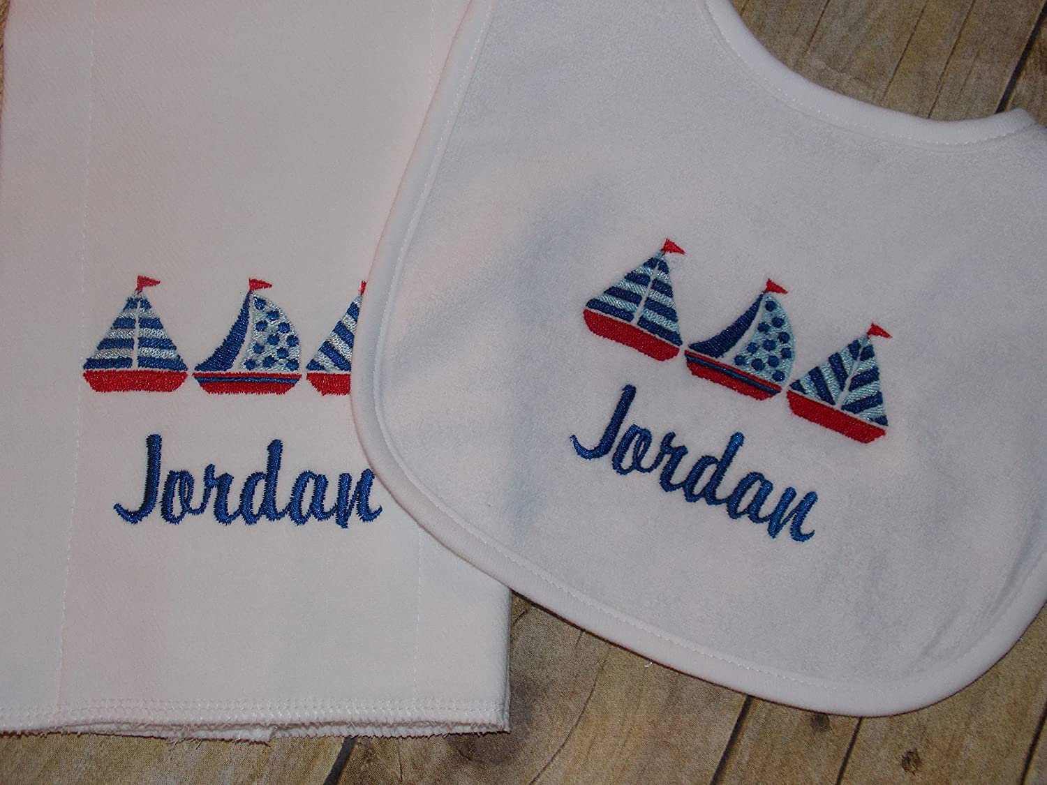 Sailboats baby personalized bib and burp set