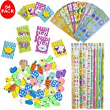 FAVONIR™ Easter Toys Party Favor Stationary Assortment 84 Gift Pack – 12 Pencils - 12 Eraser Assortment – 12 Mini Easter Spiral Notepads – 12 Sheets Assorted Stickers - Ideal As Party Favor Fillers, Reward Prizes, Carnival And Events.