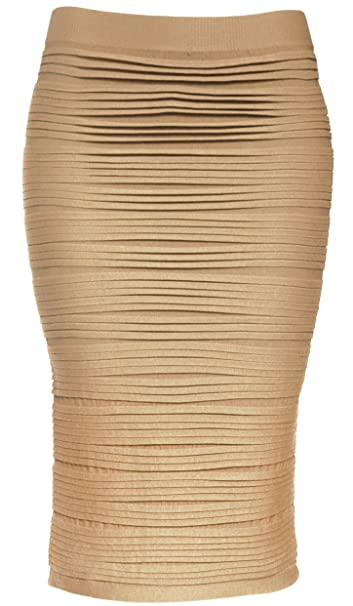 891c7b1475 KMystic Strapless Tube Dress and Pencil Midi Bodycon Skirt in One (Beige)