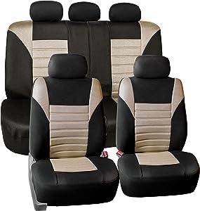 FH Group Premium 3D Air Mesh Seat Covers Full Set (Airbag & Split Ready), Beige - Fit Most Car, Truck, SUV, or Van