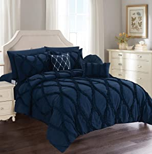 Elegant Comfort Luxury Best, Softest, Coziest 10-PIECE Bed-in-a-Bag Infinity Design Comforter Set, Includes Bed Sheet Set with Double Sided Storage Pockets and Decorative Pillows, Full/Queen,Navy Blue