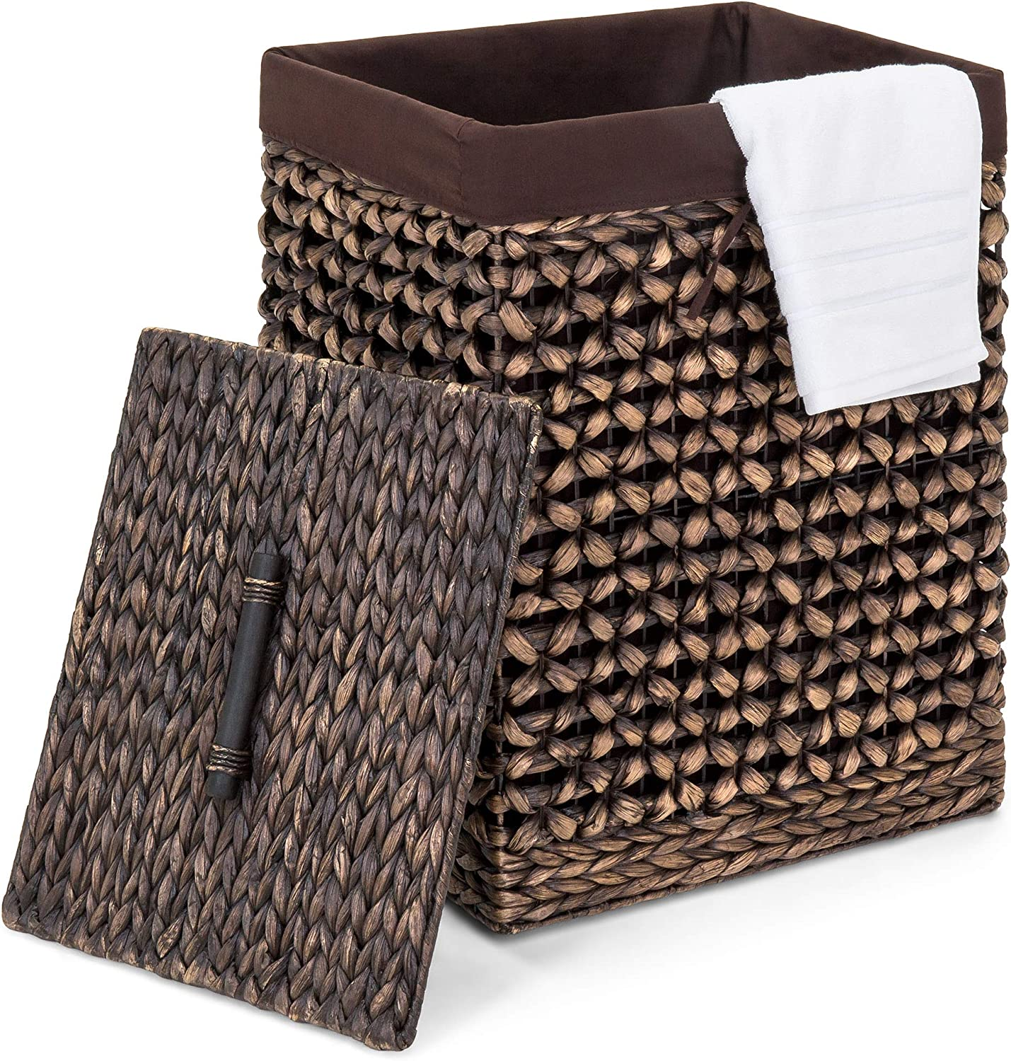 Best Choice Products Decorative Woven Water Hyacinth Wicker Laundry Clothes Hamper Basket w/Liner, Lid - Espresso