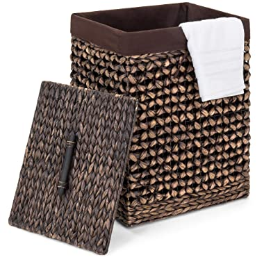 Best Choice Products Portable Decorative Woven Water Hyacinth Wicker Laundry Clothes Hamper Basket for Bedroom, Bathroom, Laundry Room w/Removable Liner Bag, Lid - Espresso