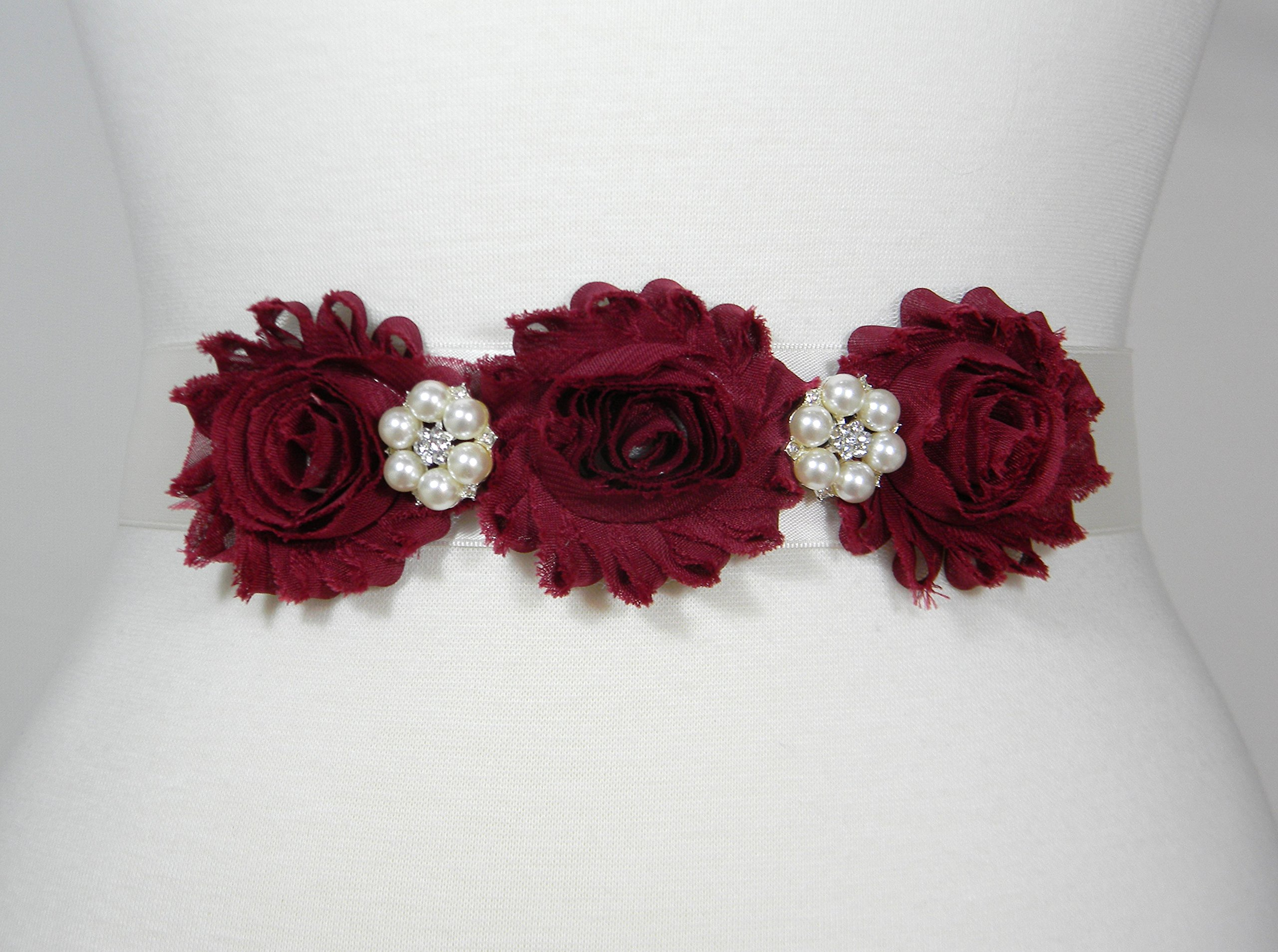 Maroon Flowers and Ivory Ribbon Bridal Belt, Wedding Belt, Bridal Sash, Flower Girl Dress Wedding Sashes, Pearl and Crystal Rhinestone Belts, ELSA