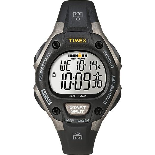 Timex Womens Ironman 30-Lap Digital Quartz Mid-Size Watch, Black/Gray - T5E961