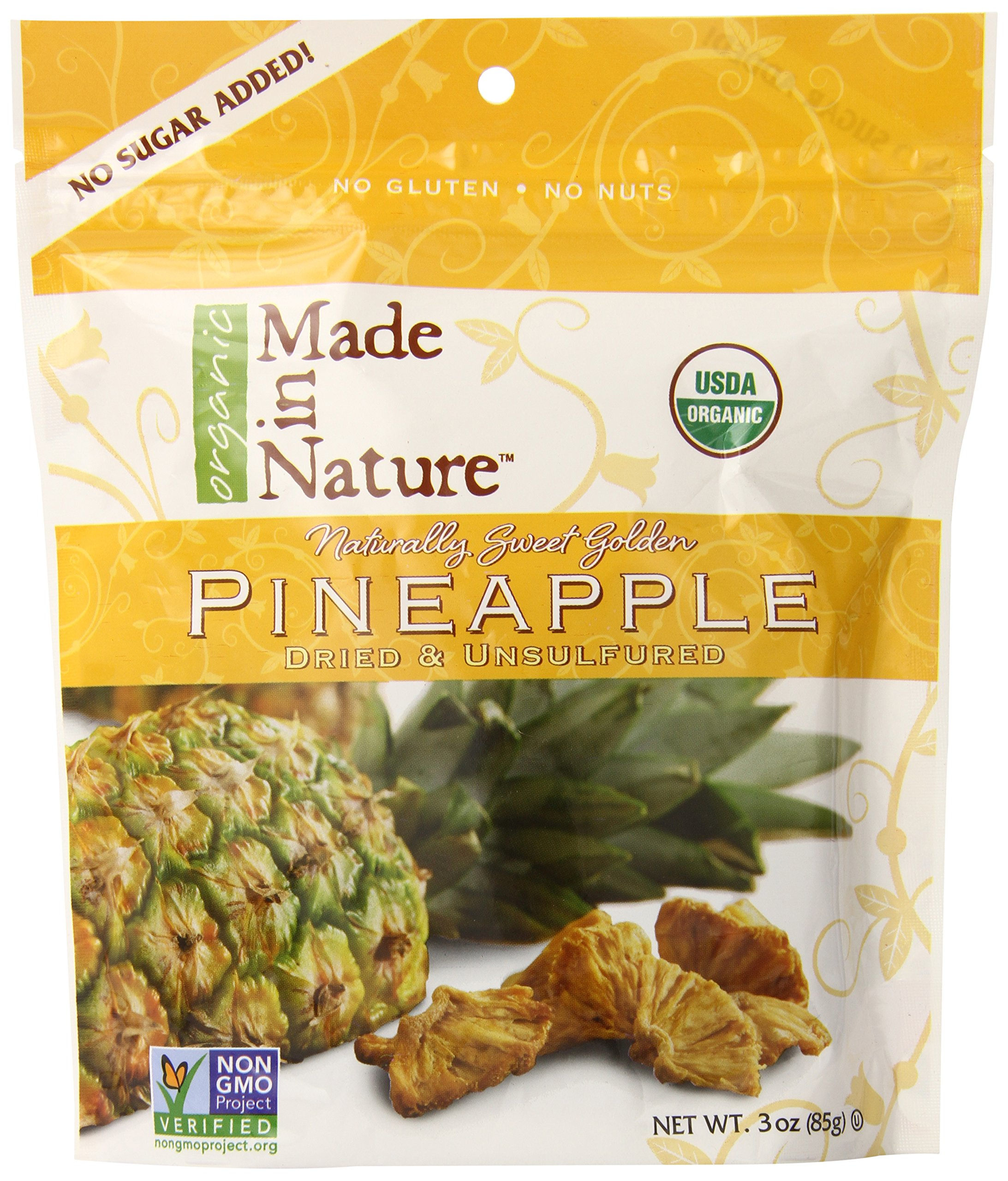Made In Nature Organic Pineapple, Dried and Unsulfured, 3-Ounce Bags (Pack of 6)