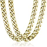 Subiceto 2 Pieces Hip Hop Faux Gold Acrylic Turnover Chain Necklace for Men Women 80s 90s Punk Rapper Style Costume Plastic Chunky Necklace Jewelry 32-36 Inch
