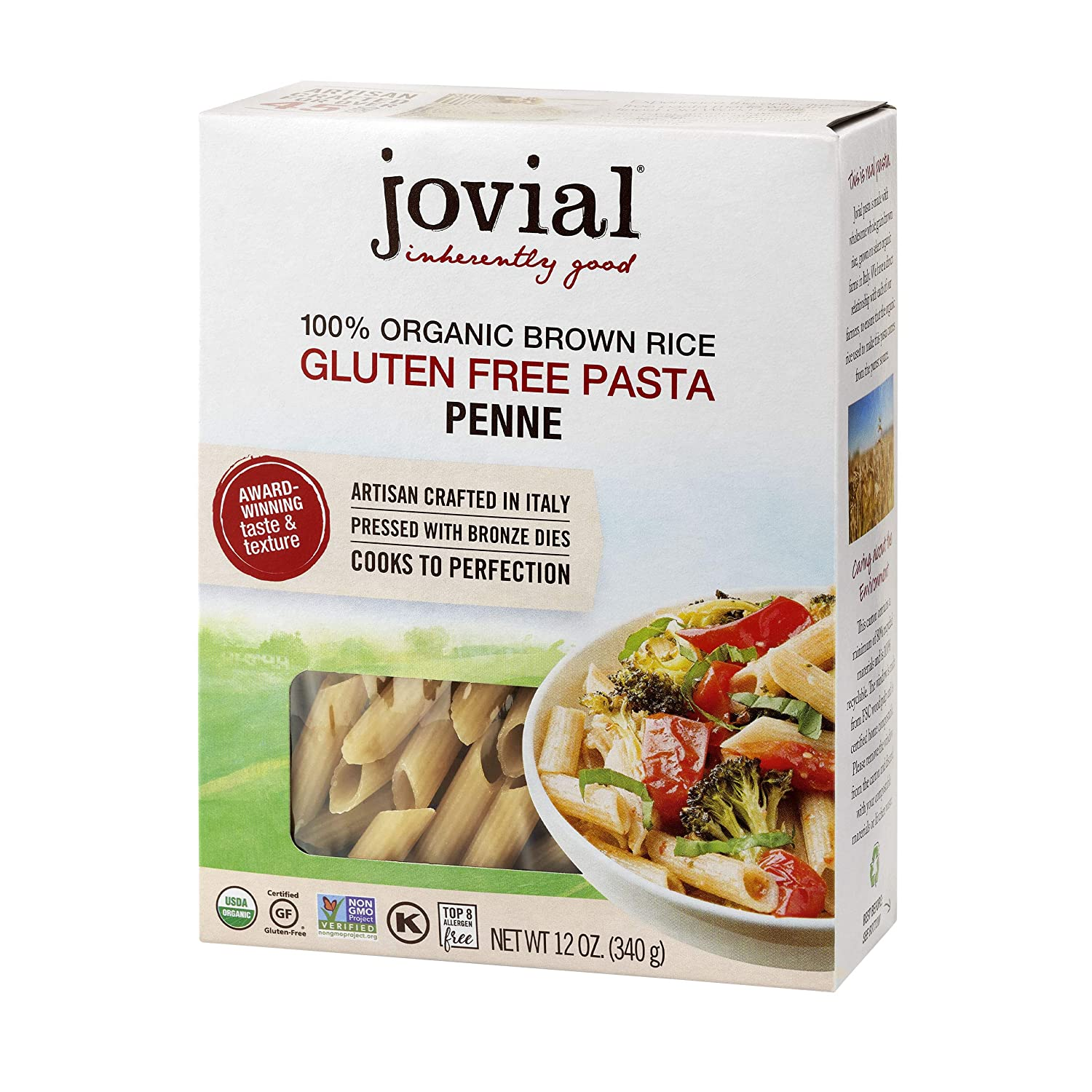 Jovial Penne Rigate Gluten-Free Pasta | Whole Grain Brown Rice Penne Rigate Pasta | Non-GMO | Lower Carb | Kosher | USDA Certified Organic | Made in Italy | 12 oz (12 Pack)