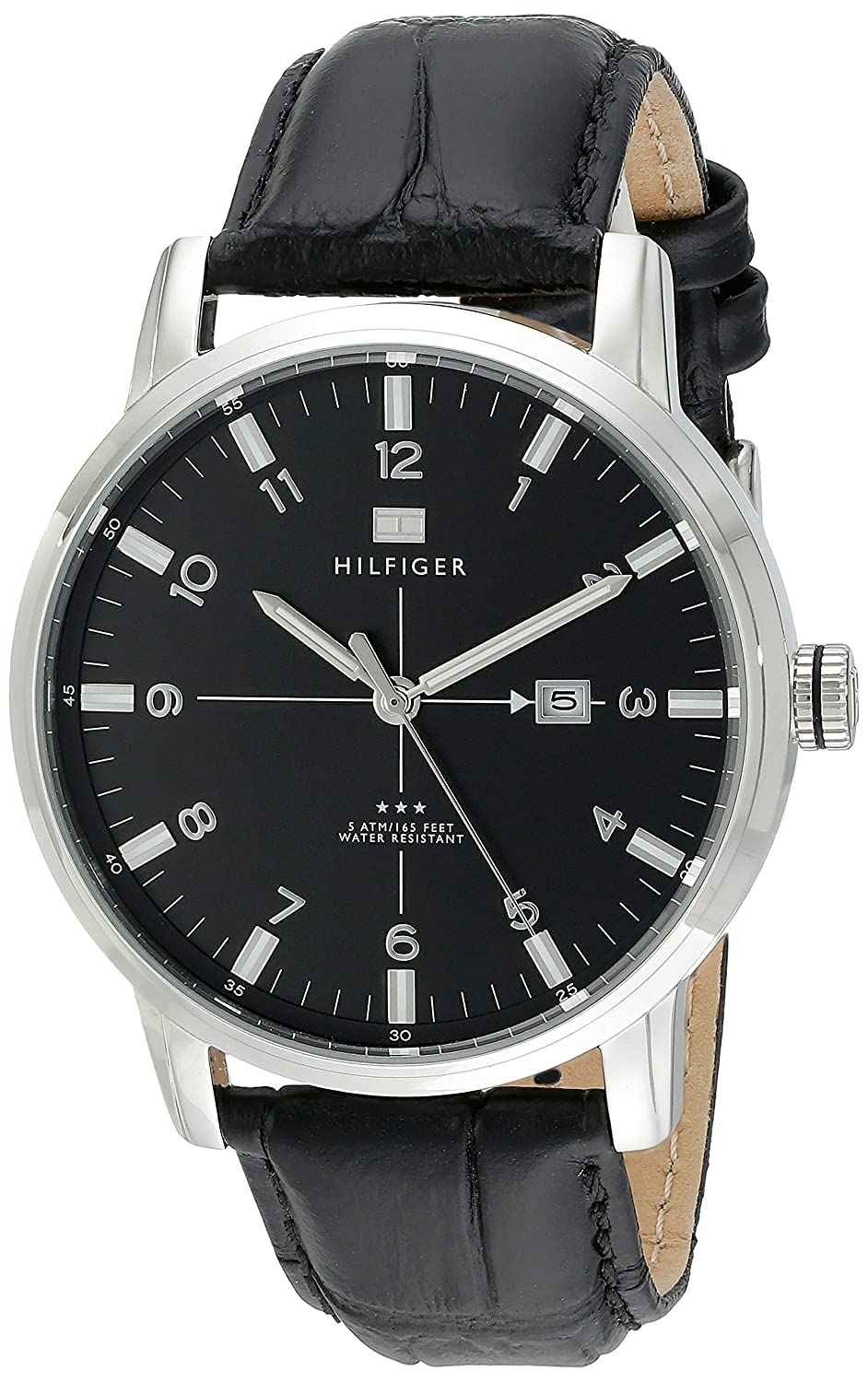 de6cdc4a9 Amazon.com: Tommy Hilfiger Men's 1710330 Stainless Steel Watch with Black  Genuine Leather Band: Tommy Hilfiger: Watches