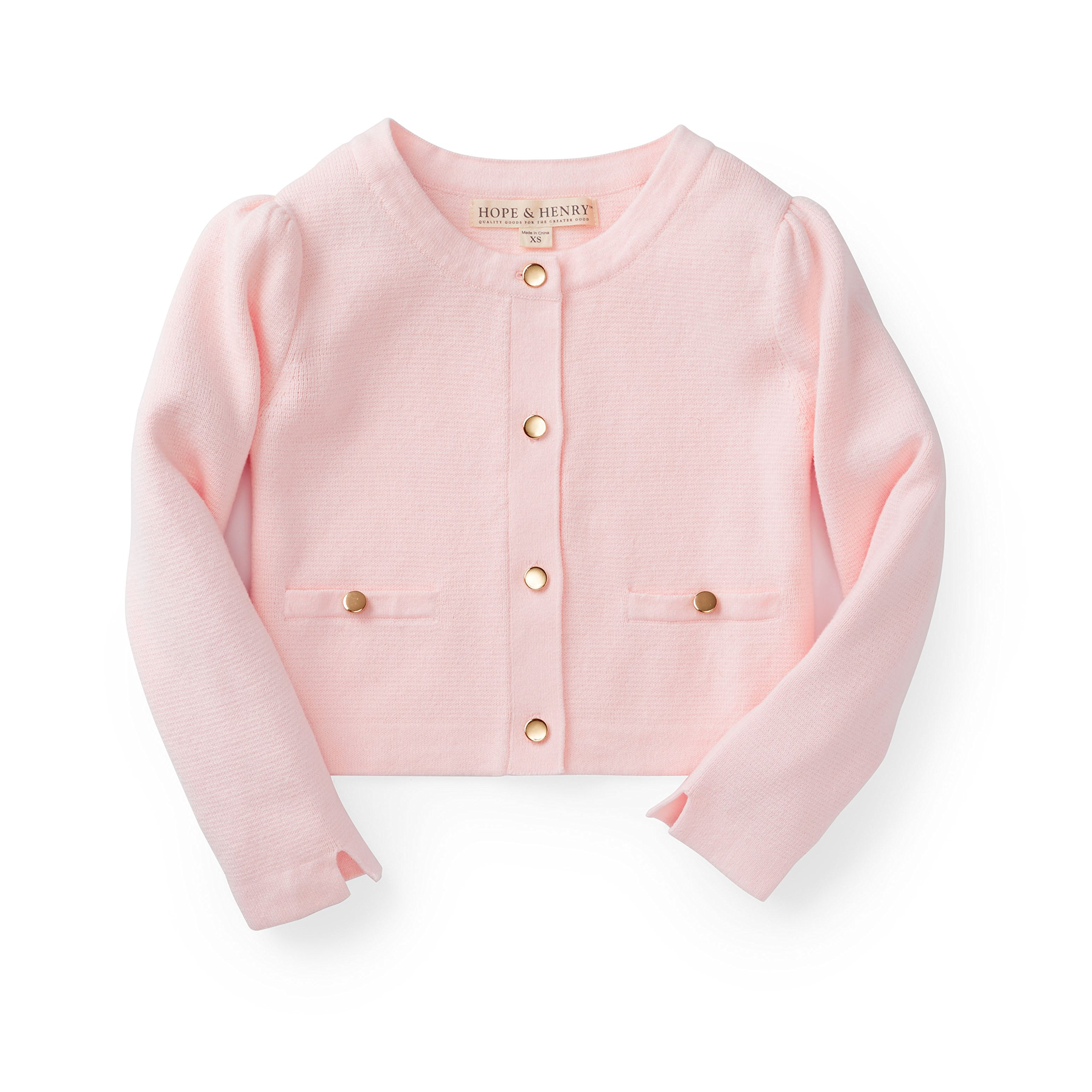 Hope & Henry Girls' Pink Full Milano Sweater Jacket Made with Organic Cotton