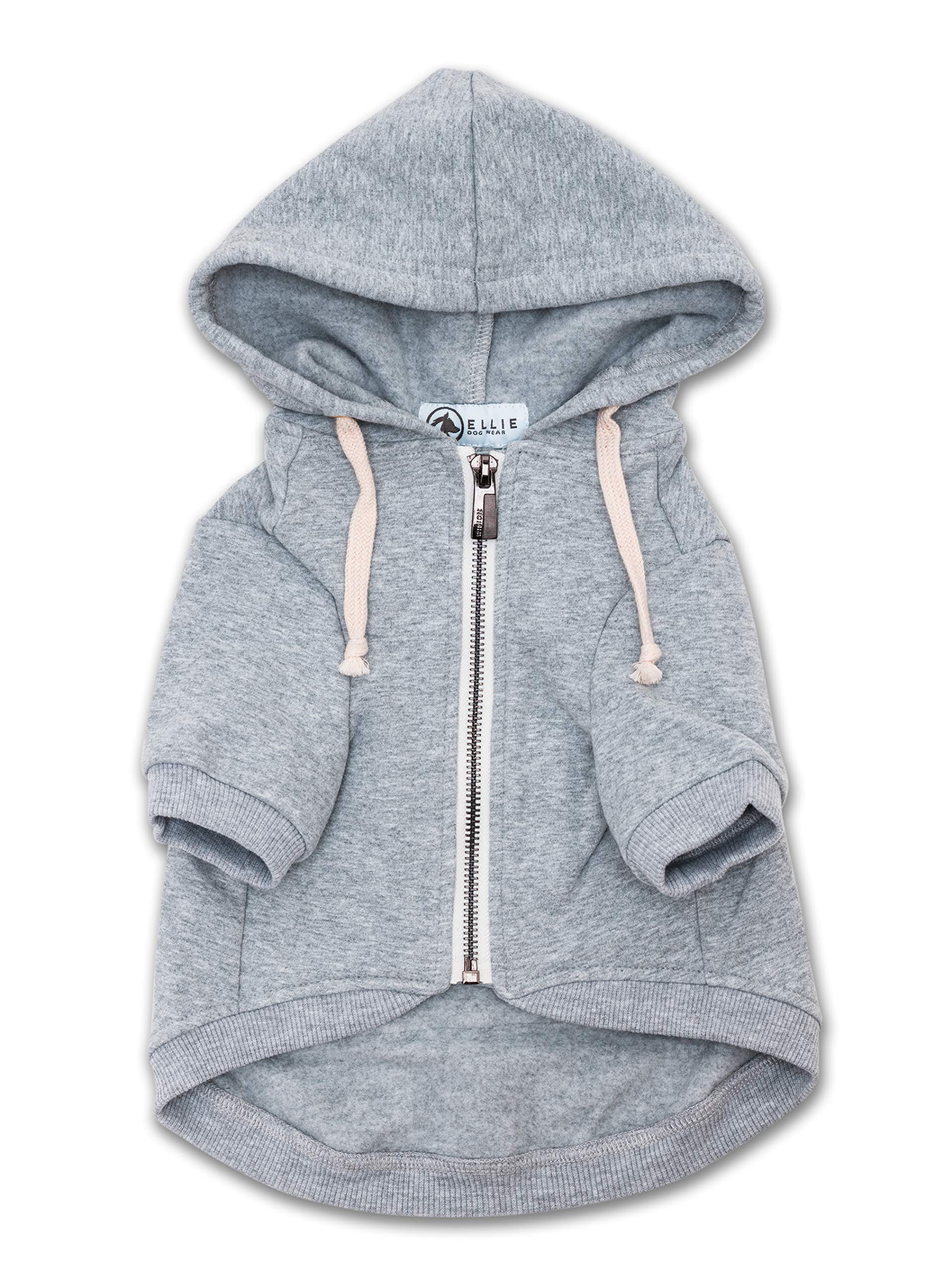 Ellie Dog Wear Zip Up Adventure Light Grey Dog Hoodie with Hook & Loop Pockets and Adjustable Drawstring Hood - Available in Extra Small to Extra Large. Comfortable & Versatile Dog Hoodies (M)