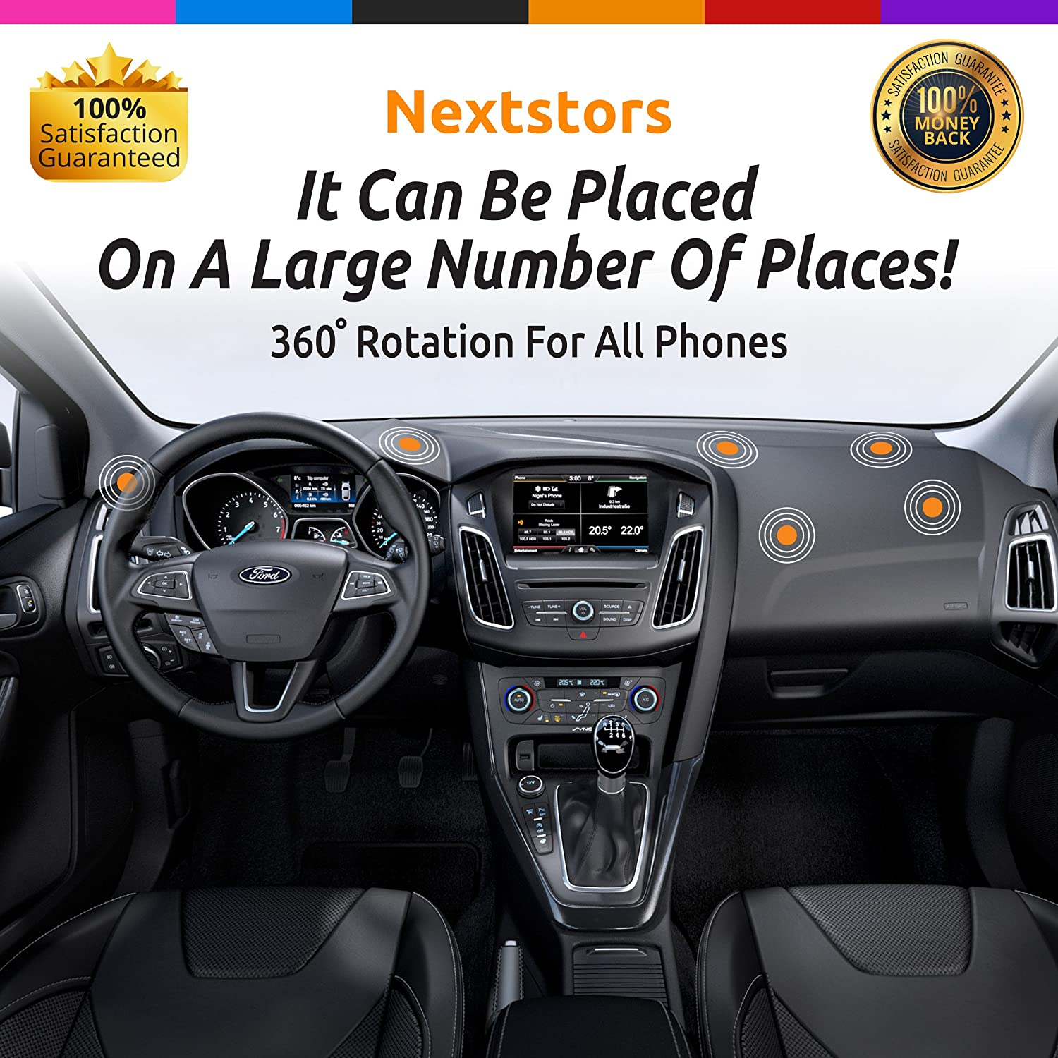 Car Phone Holder Truck Bracket Magnetic Adjustable 360 Degree Rotation from Dashboard Universal Car Mount Accessories Compatible with All Smartphones Cell Phone Devices 2019 Gift Pink Nextstors Nextstors-2b GPS Holder