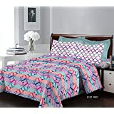 Bombay Dyeing Breeze Collection 120 TC 100% Cotton Flat Double Bedsheet with 2 Pillow Covers, Red, 224 x 254 cm, 5101 B